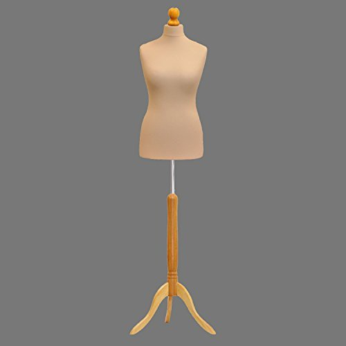 Cream Female Tailors Mannequin Display Bust Dummy FOR Dressmakers Fashion Students With A Light Wood Base All Size (Size 48 50 - UK 20 22) by H & H Traders