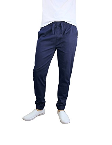 Galaxy By Harvic Men's Basic Stretch Twill Joggers Navy