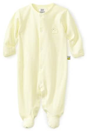 Noa Lily Unisex-Baby Newborn Striped Duck Themed Footie, Yellow/White Stripe, Newborn