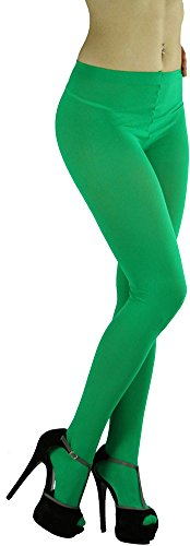 ToBeInStyle Women's Opaque Full Footed Panty Hose Leggings Tights Hosiery - Green - One Size: Regular