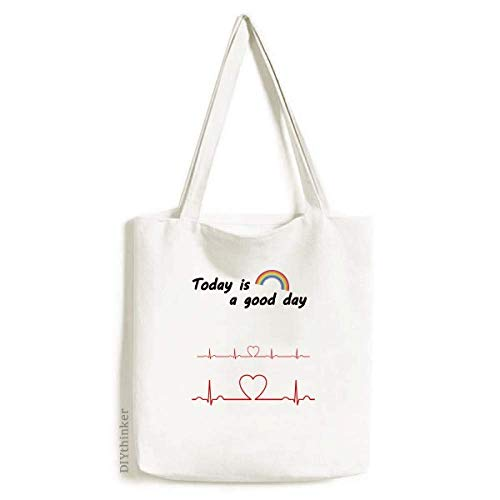 Electrocardiogram Heart Design Pattern Tote Canvas Bag Craft Washable Fashion Shopping -