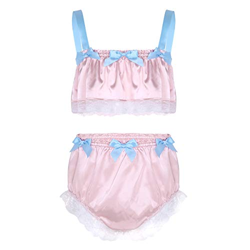 inlzdz Men's Sissy 2 Pieces Lingerie Set Ruffled Lace Crop Top Girly Skirted Panties Nightwear Light Pink Medium