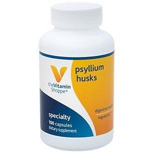 Psyllium Husk 100 Capsules - Psyllium Husks – Plantago Ovata Fiber Supplement That Supports Regularity Healthy Cholesterol, 840 mg per Serving Gluten Free (100 Capsules) by The Vitamin Shoppe