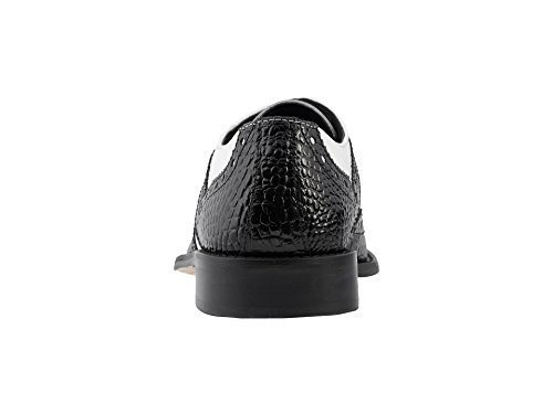 Stacy Adams Men's Gusto Wingtip Oxford, Black/White, 12 W US (Black And White Stacy Adams Shoes)