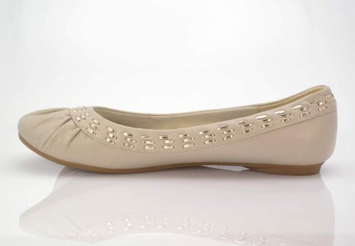 New Brieten Womens Slip on Round Toe Ballet Comfort Flat Shoes Bone zM8koci77
