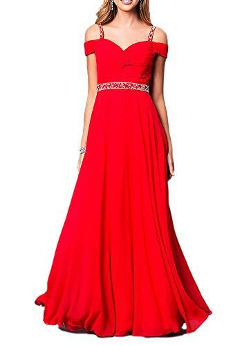 Aox Women's Formal Chiffon Sleeveless A Line Halter Long Maxi Party Evening Dress Skirt (2XL, Red Strap)