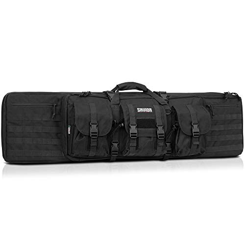 Savior Equipment American Classic Tactical Double Long Rifle Pistol Gun Bag Firearm Transportation Case w/Backpack - 51 Inch Obsidian Black