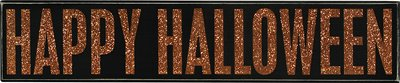 Primitives by Kathy Vintage Style Happy Halloween Black with Orange Letters Wooden Box Sign 18381