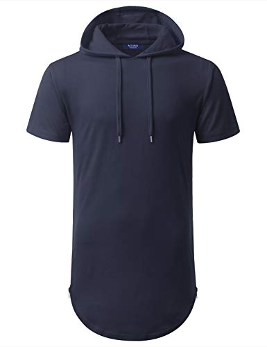 (Aiyino Mens Hipster Hip Hop Longline Pullover Short Sleeve Hoodie Shirt (US S, Navy))