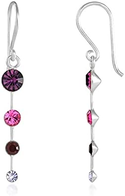 Purple Crystal Drop Earrings With Silver Plated Hooks New Drops Dangle LB66