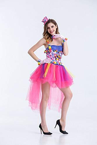 Simmia Halloween Costumes Halloween Costume Candy Color Clown Costume Opening Dance Nightclub Singer, as Shown, U]()
