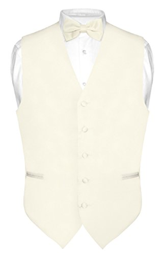 Men's Dress Vest & BowTie Solid CREAM Color Bow Tie Set for Suit or Tuxedo (Ivory Tuxedo Vest)