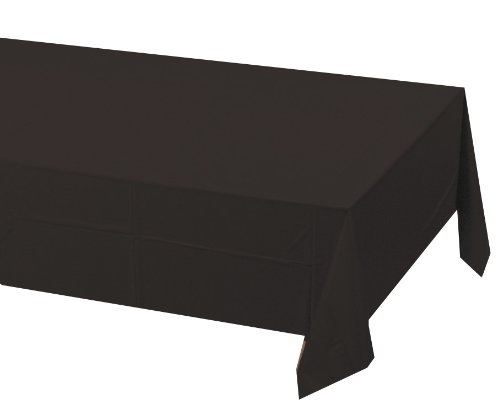 Creative Converting Touch of Color Plastic Lined Table Cover, 54 by 108-Inch, Black (50 Themed Party Clothes)