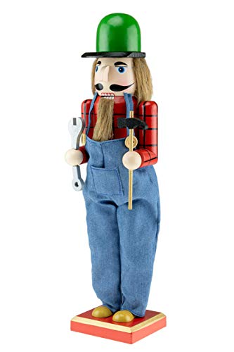 Clever Creations Wooden Handy Man Christmas Nutcracker | Plaid and Overalls Outfit Holding Hammer and Wrench | Festive Traditional Christmas Decor | 15