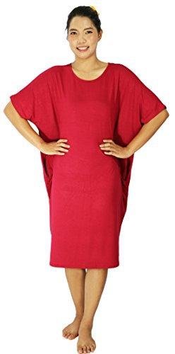 Lovely Creations Women's Plus Size Span Kimono Sleeves Loose Fit Midi Dress(DL Red),Size L-5X (Plus Size Fairy Dress)