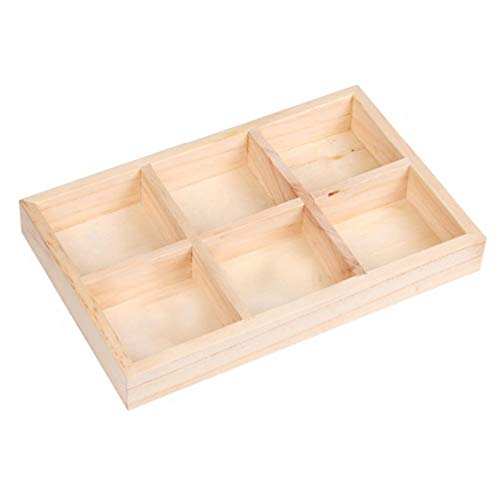 Princess-J 6 Compartments Natural Wood Jewelry Display Case for Retail Store Shop Home Storage Organizer Showcase from Princess-J