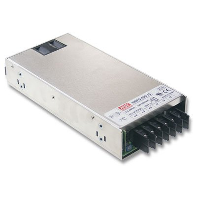 Mean Well HRP-450-24 Power Supply, Switching, PFC Enclosed, 451.2 Watt, 24 VDC, 18.8 A, 8.9'' L x 4.1'' W x 1.6'' H, Silver by MEAN WELL (Image #1)