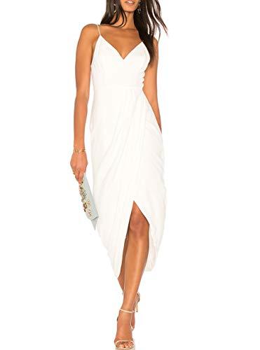 cmz2005 Women's Sexy V Neck Backless Maxi Dress Sleeveless Spaghetti Straps Cocktail Party Dresses 71729 (XL, - Dress White