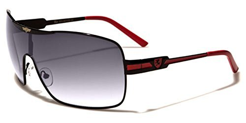 Khan Fashion Men's Square Aviator Style Sunglasses Silver Black Blue Sport Shades,Black/Red