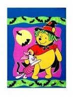 Pooh & Piglet Cat Halloween House Flag -