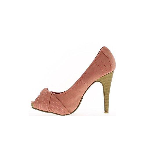 Escarpins femme ouverts rouges à talons de 11cm et plateforme de 2,5cm