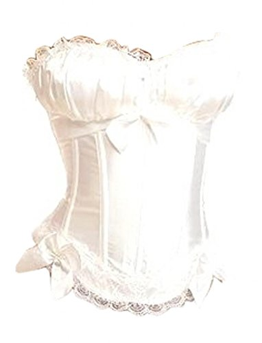 Alivila.Y Fashion Womens Vintage Sexy Overbust Bowknot Corset 8899-White-L (Bustier White Corset)