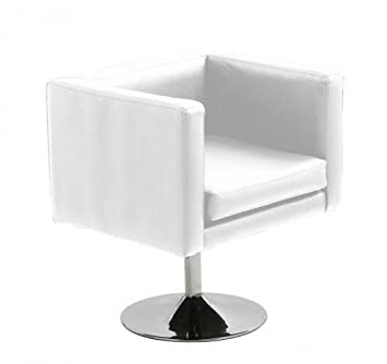 Hogar Decora Sillon Cromado Simil Piel Blanco 60x60x72 cm ...