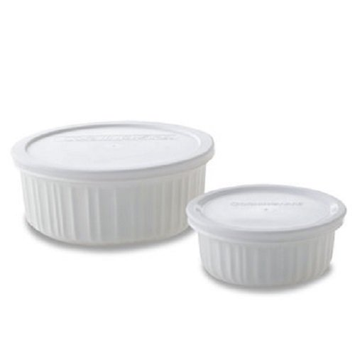 Corningware 4 piece French White Casserole (Set of 2 Bowls)