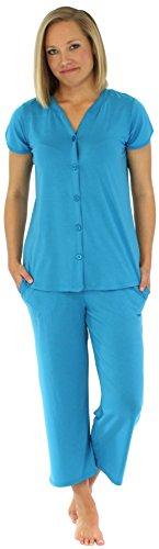 PajamaMania Women's Button-up Short Sleeve Capri Pajama Set (PMR1923-2018-SML)