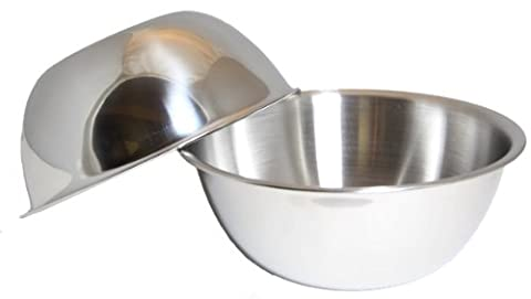 SET OF 2, Large 13-Quart Heavy-Duty Deep Stainless Steel Flat Base Mixing Bowl Bowls