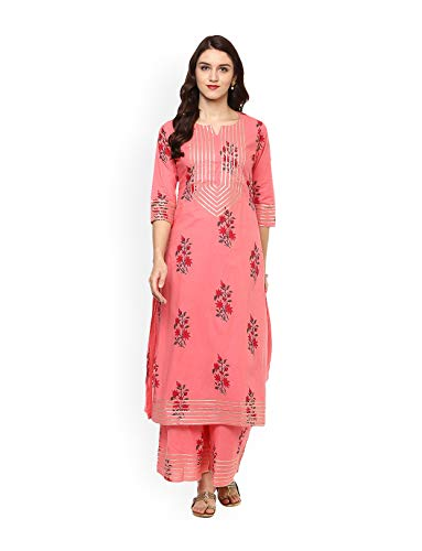 Women Pink Printed Kurta with Trousers Full Set Dream Angel Fashion (Medium-36)
