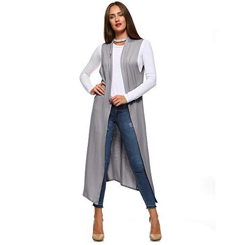- Isaac Liev Women's Sleeveless Lightweight Duster Vest (Medium, Frost Gray)