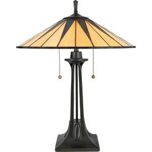 Quoizel TF6668VB Gotham Tiffany Table Lamp, 2-Light, 150 Watts, Vintage Bronze (25