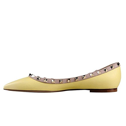 Arc-en-Ciel zapatos de las mujeres del dedo del pie en punta de charol pisos del remache Amarillo