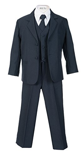 Avery Hill Boys Formal 5 Piece Suit Shirt Vest, Navy Blue, 8]()