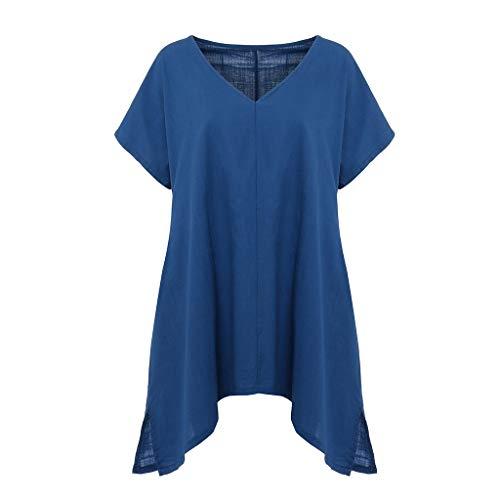 POHOK Women Bat Sleeve T-Shirts Women Summer Short Sleeve T-Shirt V-Neck Loose Cotton Linen Tops Blouse(M,Navy) -
