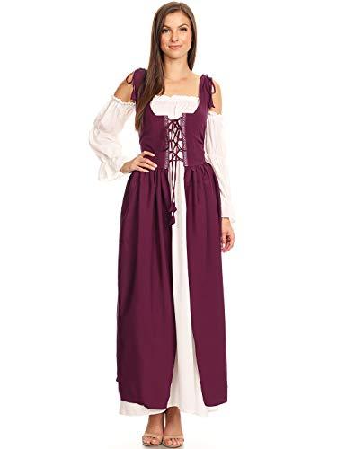 Anna-Kaci Womens Renaissance Overdress Medieval Irish Off Shoulder Dress Set,Burgundy,Medium