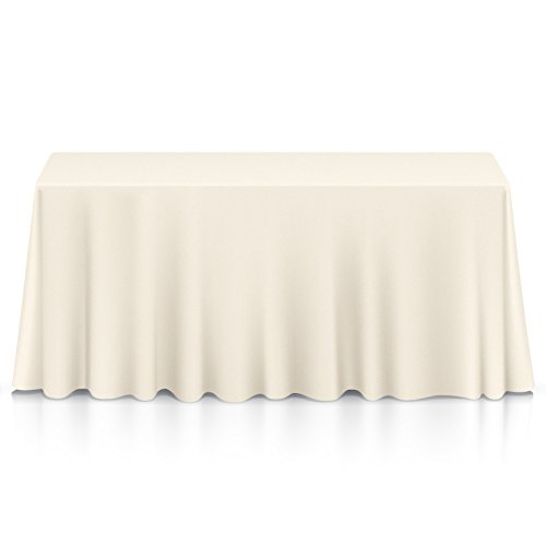 """Lann's Linens - 90"""" x 132"""" Rectangular Ivory Polyester Tablecloth Cover for Weddings, Banquets, or Restaurants"""