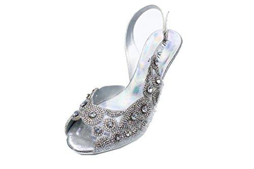 B W Slipper & & & Damen Pumps mit eleganten Holiday Party Schuhe Sandalen (3 bis 8), Gold Silber, Grün, LIVIA Silber 7d943e