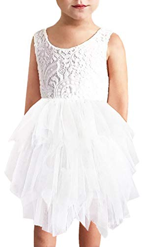 2Bunnies Girl Peony Lace Back A-Line Tiered Tutu Tulle Flower Girl Dress (No Applique White, 3T)