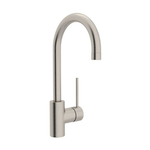 Rohl LS53L-STN-2 Modern Architectural Single Hole Side Mount Single Metal Lever C Spout Bar Faucet in Satin Nickel (Lever C-spout Faucet Bar)