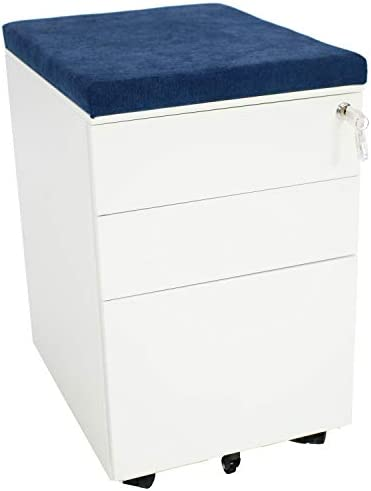 CASL Brands Rolling Mobile File Cabinet with Lock Cushion Seat, Small Steel 3-Drawer Filing Storage System, White with Blue Cushion
