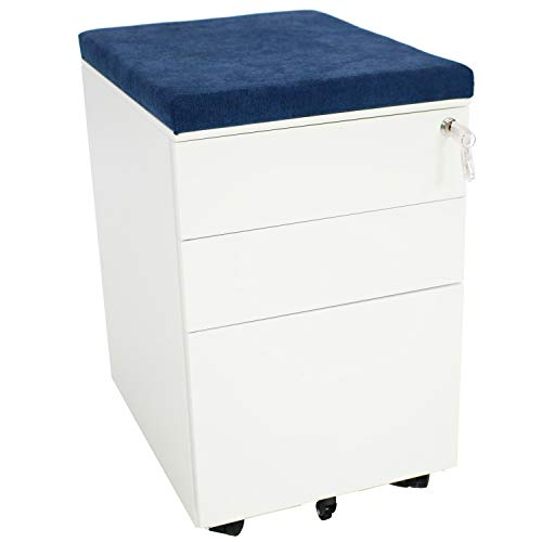 CASL Brands Rolling Mobile File Cabinet with Lock & Cushion Seat, Small Steel 3-Drawer Filing Storage System, White with Blue Cushion