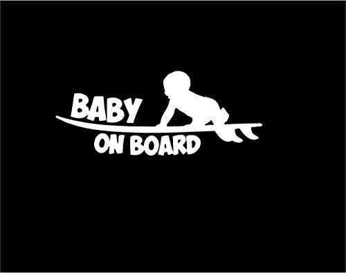 Baby on Board Surf board sticker 6 yr outdoor vinyl in WHITE