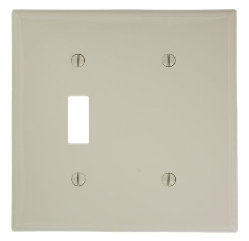 Leviton 80706-T 2-Gang, 1-Toggle 1-Blank Device Combination Wallplate, Standard Size, Light Almond