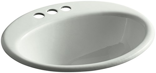 KOHLER K-2905-4-FF Farmington Drop-In Bathroom Sink with 4-Inch Centerset Faucet Holes, Sea Salt by Kohler