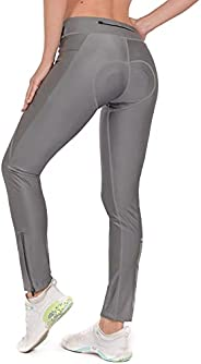 Dasawamedh Women Padded Cycling Pants Pockets Ankle Zipper Reflective Bicycle Cycle Long Pants Tights for MTB
