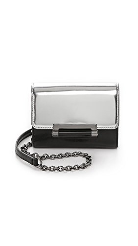Diane von Furstenberg Women's 440 Micro Mini Mirror Metallic Bag, Silver/Black, One Size