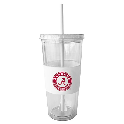 - NCAA Alabama Crimson Tide Insulated Tumbler with Rubber Sleeve and Stir Straw, 22-ounce