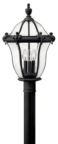 Hinkley 2441MB San Clemente Large Post Outdoor, Museum Black Finish : Bound Glass, Bent & Beveled